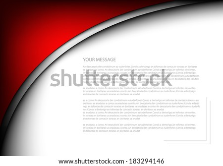 Red vector background abstract line curve pattern on white background for text and message design - stock vector
