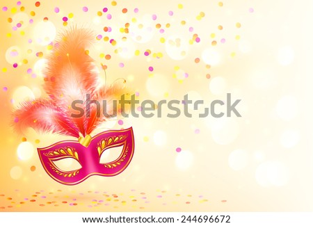 Red vector carnival mask with feathers on bokeh lights and confetti background - stock vector