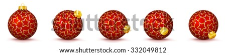 Red Vector Christmas Balls Collection with Starlet Texture - Panorama Bauble Set - Star Pattern - X-Mas Decorations - Each Ball is in Extra Vector Layer, Cleanly Separated - Christmas Tree Decor. - stock vector