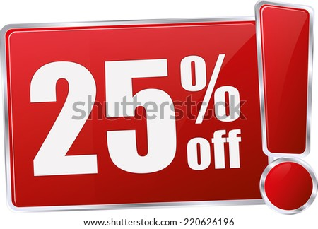 red vector 25% discount price sign - stock vector