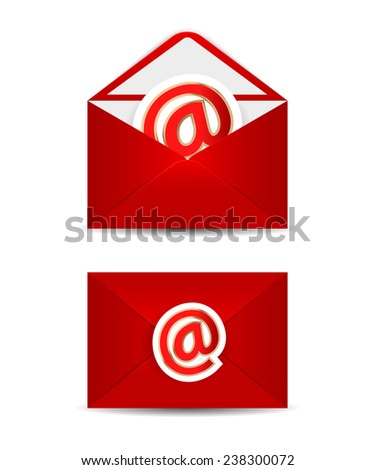 Red vector envelope with e-mail icon, isolated in white background. - stock vector