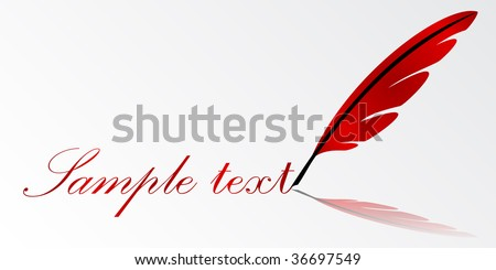 red vector feather writing - stock vector