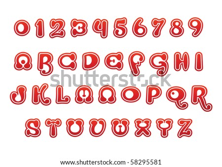 red vector font set - stock vector