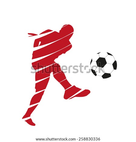 Red vector football player - stock vector