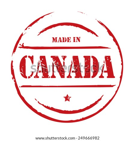 Red vector grunge stamp MADE IN CANADA - stock vector