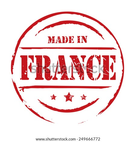 Red vector grunge stamp MADE IN FRANCE - stock vector