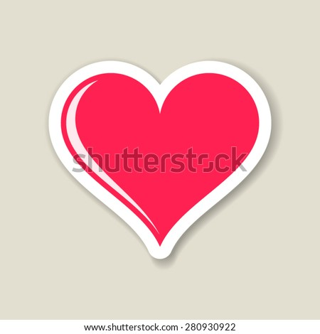 Red vector heart paper label with transparent shadow - stock vector