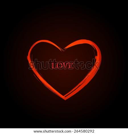 Red Vector Love Heart, easy editable - stock vector