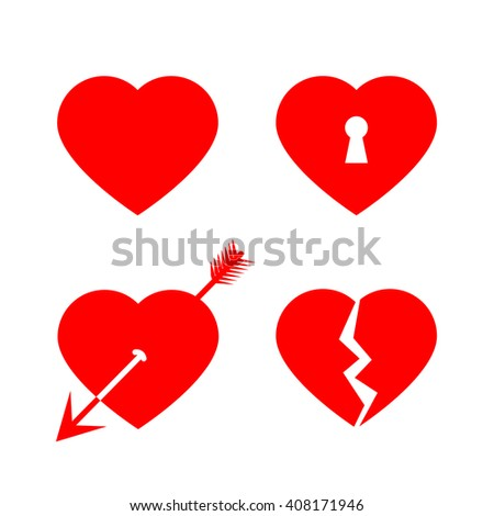 Red vector love hearts: love heart pierced by an arrow, broken heart, heart with lock and keyhole - stock vector