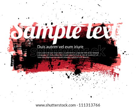 Red vector painted grungy banner / badge / background