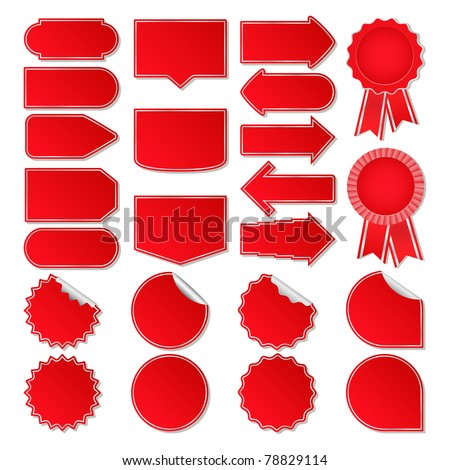 Red Vector Price Tags - stock vector