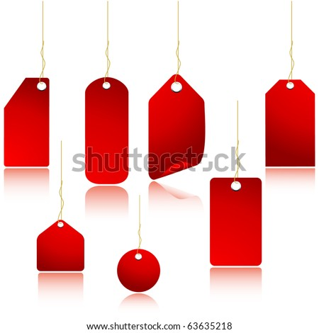 Red vector price tags set isolated on white.