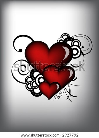 red vector retro hearts - stock vector