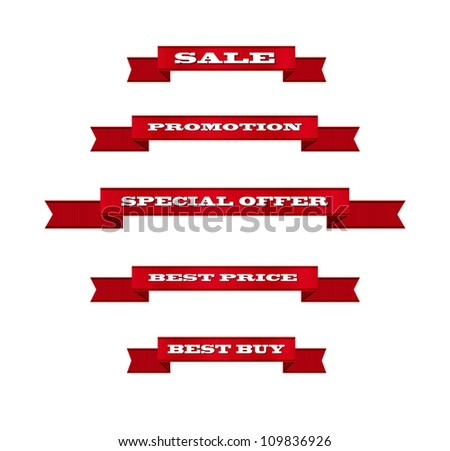 Red vector ribbon tags collection - sale, promotion, special offer, best price, best buy - stock vector