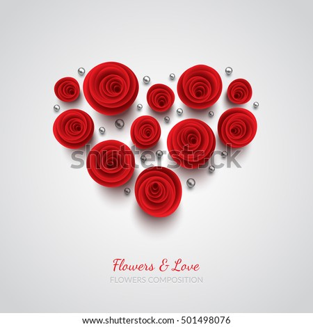 Red vector roses and hearts composition on white background. Heart symbol. Romantic background . St. Valentine's Day, 8 march, Woman's day, romantic holiday design. Eps10 vector.
