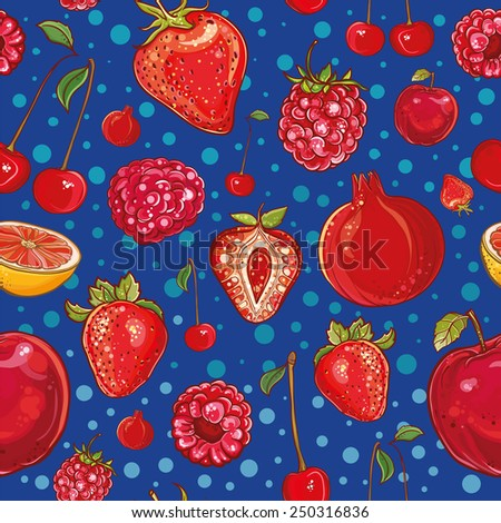 Red vector seamless pattern with fruits and berries: pomegranate, strawberry, cherry, raspberry, apple, grapefruit. Illustration of fruits and berries. Fresh, juicy and colored. eps 10 - stock vector