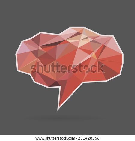 red vector speech cloud with triangular segments - stock vector