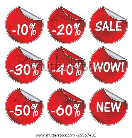 Red vector sticker set with vintage / vector - stock vector