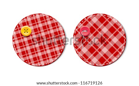 Red vector tartan fabric textured badges with buttons - stock vector