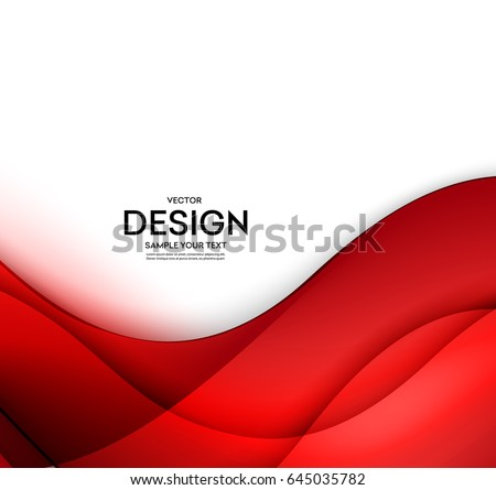 Red Vector Template Abstract Background With Curves Lines And Shadow For Flyer Brochure