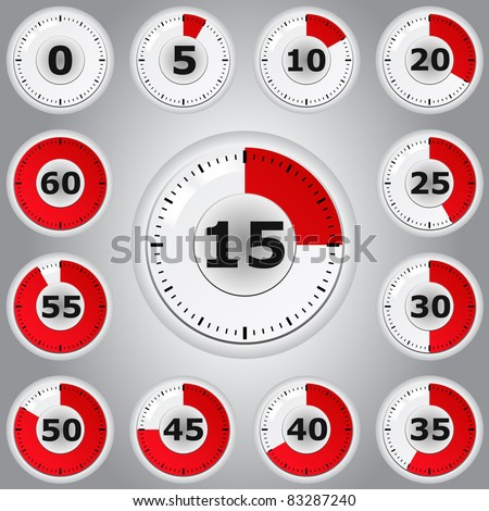 Red vector timers - stock vector
