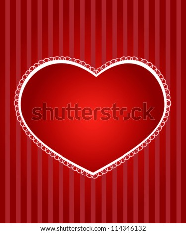 Red vector valentine's day card with hearts - stock vector