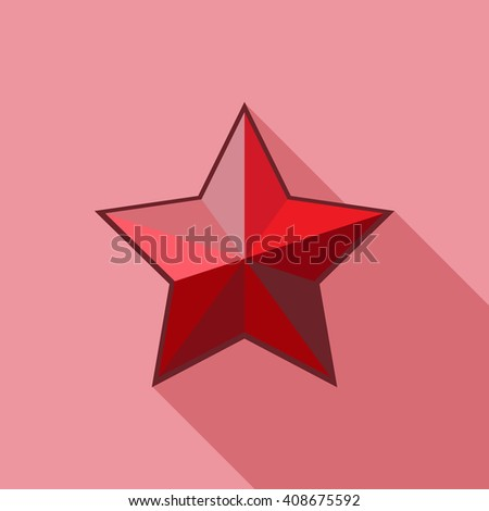 Red vector volume star icon on white background. Red star vector. Red star isolated. Red star icon. Red star logo. Red star modern. Red star shape. Red star sign. Red star glossy. Red star web. - stock vector