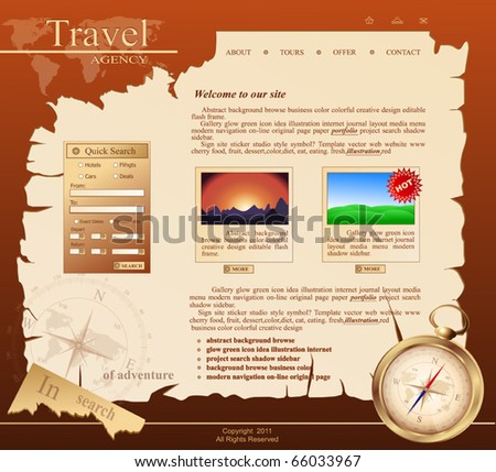 red Vector Web site for travel agency - stock vector