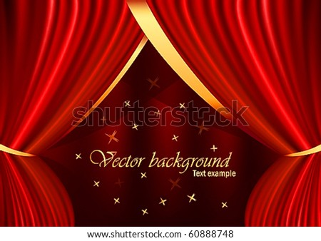 Red velvet curtain with gold ornaments, stars and a place for the text - stock vector