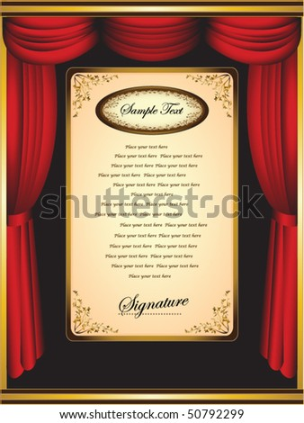 Red velvet theater curtains with texture background. Vector Presentation and congratulation - stock vector