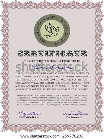 Red Vertical certificate or diploma template. Complex design.