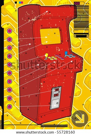 Red video arcade machine on a yellow screw background.