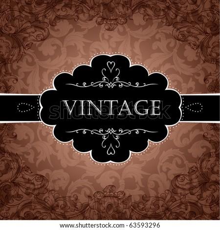 Red Vintage Frame Design For Greeting Card. Eps10. - stock vector