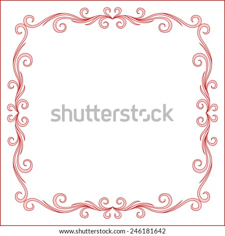 Red Vintage Frame Design For Greeting Card. Happy Valentines Day Lettering Card. Typographic Background With Ornament , Ribbon  - stock vector
