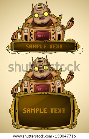 Red vintage robot with display - stock vector