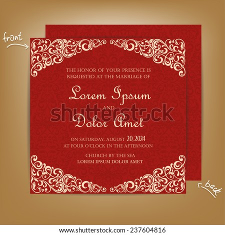 Red Vintage Wedding Invitation Card. - stock vector