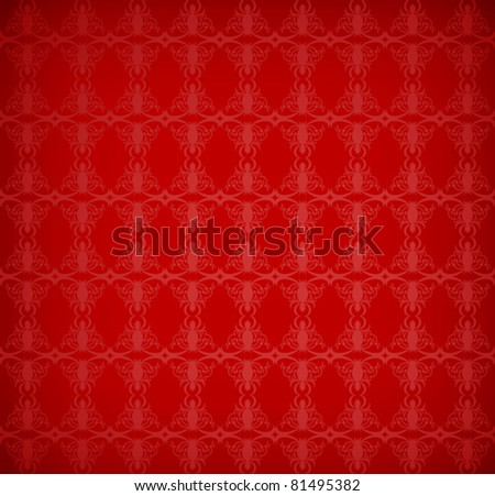 red wallpaper with a pattern - seamless texture - stock vector