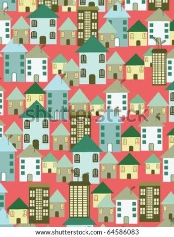 red wallpaper with houses