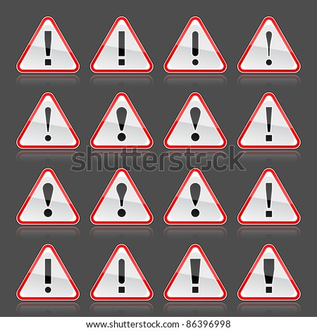 Red warning attention sign with exclamation mark. Rounded triangle shape with color reflection on gray background. 10 eps - stock vector