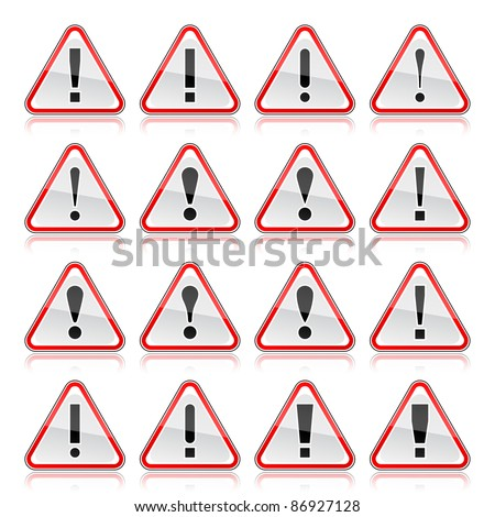 Red warning attention sign with exclamation mark. Rounded triangle shape with color reflection on white background. 10 eps - stock vector