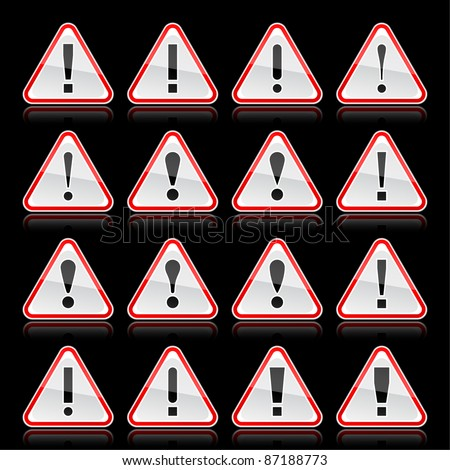Red warning attention sign with exclamation mark. Rounded triangle shape with color reflection on black background. 10 eps - stock vector