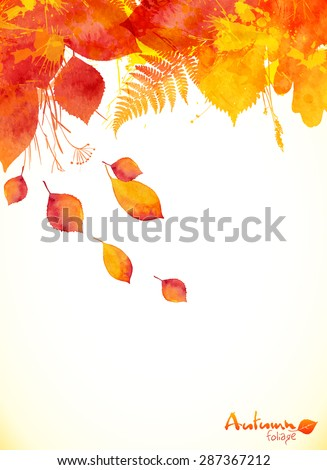 Red watercolor autumn leaves fall vector leaflet background - stock vector