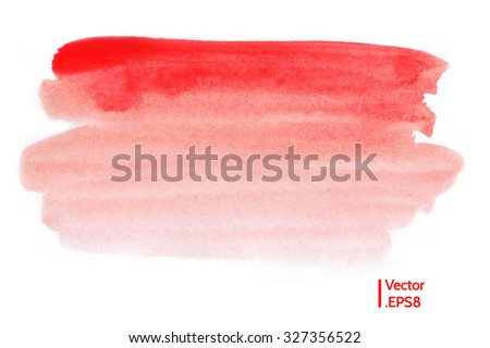 Red watercolor texture. Abstract hand painted backdrop. Vector eps 8 isolated on white background. - stock vector