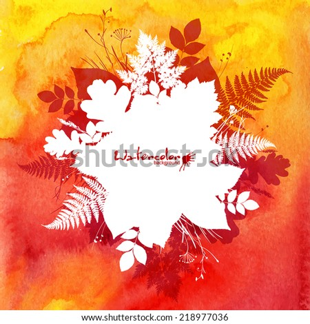 Red watercolor vector background with white leaves silhouettes banner - stock vector