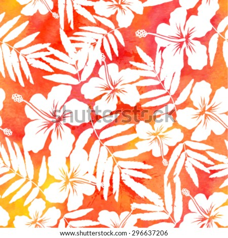 Red watercolor vector hibiscus seamless pattern - stock vector