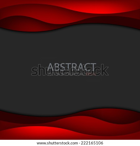 Red wave background on black space for text and message modern artwork design - stock vector