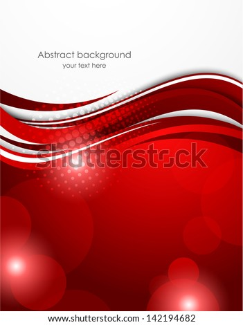 Red wavy background - stock vector