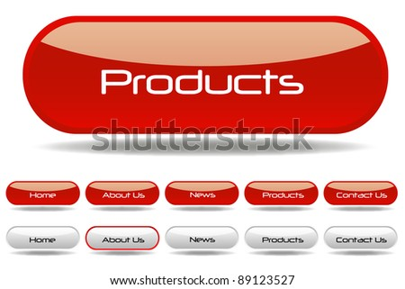 Red Web Buttons - stock vector