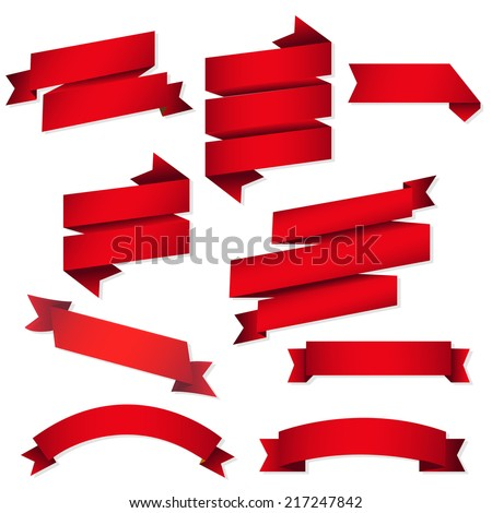 Red Web Ribbons Set, Vector Illustration - stock vector