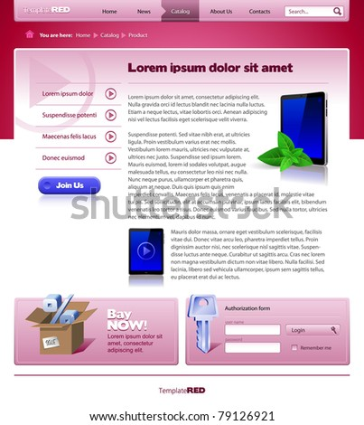Red Website Template 960 Grid: Inside Page - stock vector